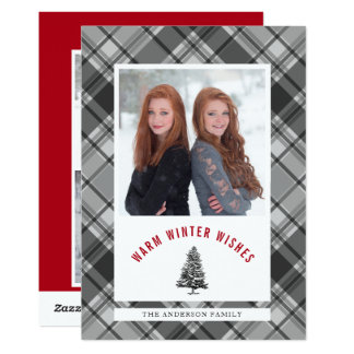 Warm Wishes Spruce Tree Plaid 3 Photo Christmas Card