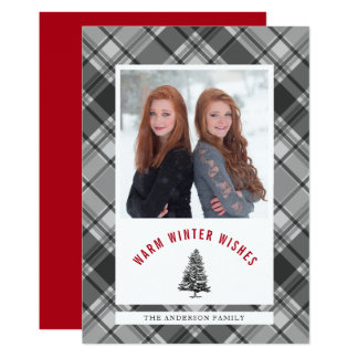 Warm Wishes Spruce Tree Plaid Photo Christmas Card