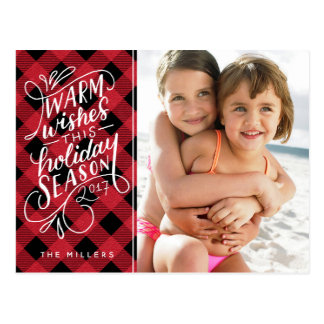 Warm Wishes This Holiday Hand Lettered Plaid Postcard