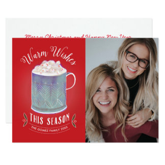 Warm Wishes This Season Peppermint Hot Cocoa Photo Card