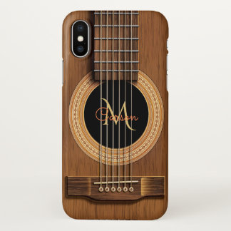 Warm Wood Acoustic Guitar iPhone X Case