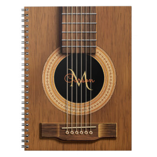 Warm Wood Acoustic Guitar Notebook