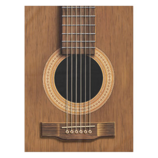 Warm Wood Acoustic Guitar Table Cloth