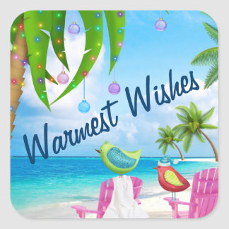 Warmest Wishes Birds and Christmas Palm Tree Beach Square Sticker