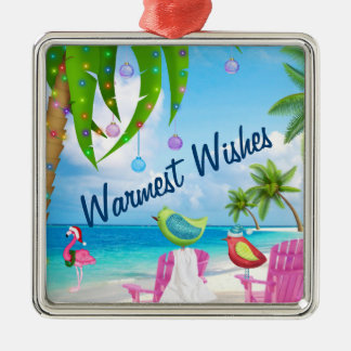 Warmest Wishes, Birds, Palm Trees, Beach Christmas Metal Ornament