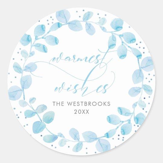 Warmest Wishes Christmas Classic Round Sticker