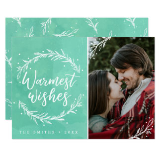 Warmest Wishes Holiday Wreath Photo Card