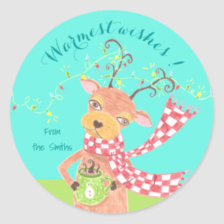 Warmest wishes - reindeer personalized  stickers