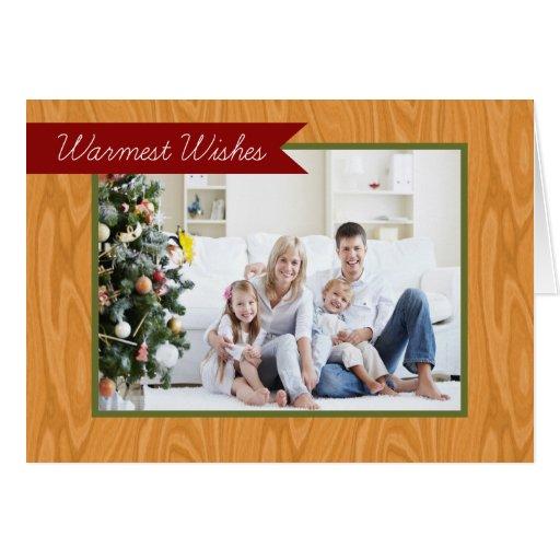 Warmest Wishes Wood Frame Folded Holiday Card