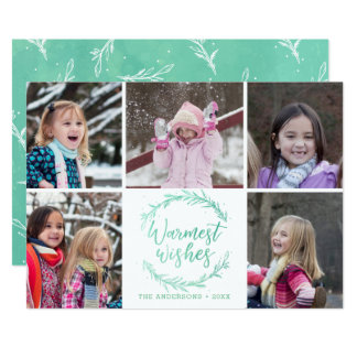 Warmest Wishes Wreath Photo Collage Card