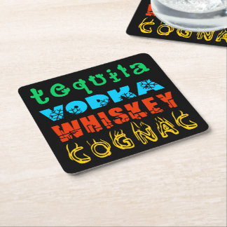 Warming Drinks Square Paper Coaster