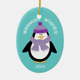 Warmist Wishes Christmas Penguin in Blue Ceramic Oval Ornament