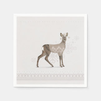 'Warmly Clothed Roe Deer' Disposable Napkins
