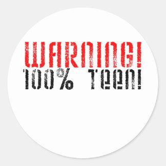 Warning 100% Teen Round Stickers