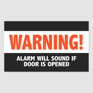 Warning Alarm Will Sound If Door is Opened Sticker