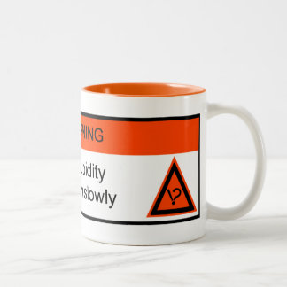 WARNING: allergic to stupidity Two-Tone Coffee Mug