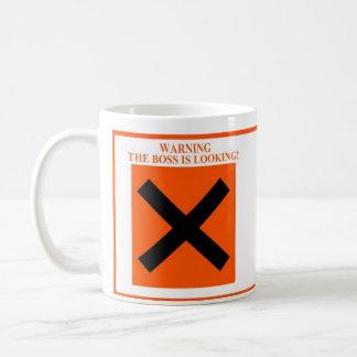 Warning And Safe The Boss Is Looking / Isn't Coffee Mug