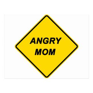 """""""Warning - Angry Mom"""" design Postcard"""