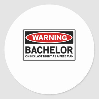 Warning Bachelor Party Classic Round Sticker