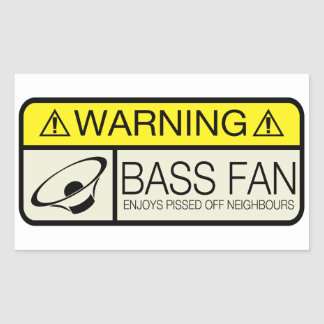 Warning Bass Fan! Sticker