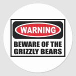 Warning BEWARE OF THE GRIZZLY BEARS Sticker