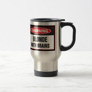 Warning Blonde With Brains Travel Mug