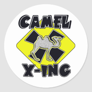 WARNING CAMEL CROSSING X-ING GIFTS FUNNY ZOO CLASSIC ROUND STICKER