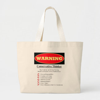 Warning: Conservative Thinker Jumbo Tote Bag