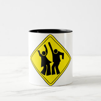 WARNING DANCERS CROSSING Two-Tone COFFEE MUG