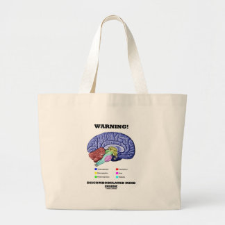 Warning! Discombobulated Mind Inside (Brain Humor) Large Tote Bag