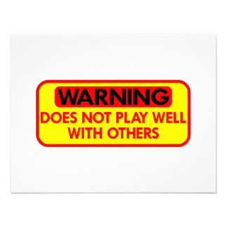 Warning Does Not Play Well With Others Invitations