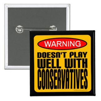 Warning: Doesn't Play Well With Conservatives 2 Inch Square Button