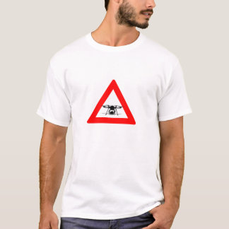 WARNING DRONE FLY ZONE White T-Shirt