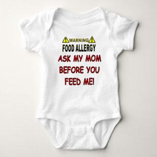 Warning Food Allergy Baby Bodysuit