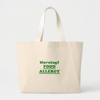 Warning Food Allergy Large Tote Bag
