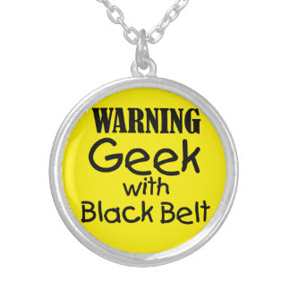 Warning Geek with Black Belt Necklace
