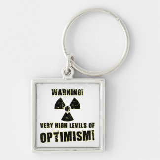 Warning! High Levels of Optimism! Silver-Colored Square Keychain