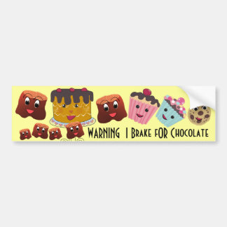 WARNING I brake FOR Chocolate Chibi - Bumper Sticker