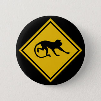 Warning Macaques, Traffic Sign, Malaysia 2 Inch Round Button