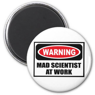 Warning MAD SCIENTIST AT WORK Magnet