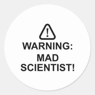 Warning Mad Scientist Round Sticker