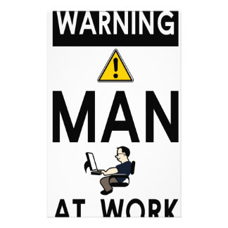 Warning Man At Work Stationery