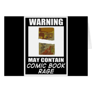 Warning May Contain Comic Book Rage Greeting Card
