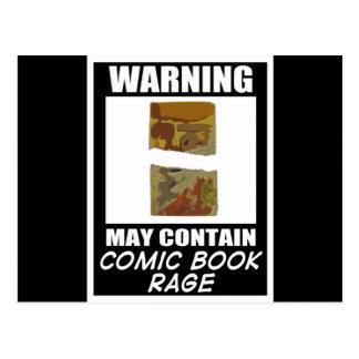Warning May Contain Comic Book Rage Postcard