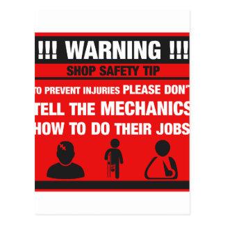 Warning - Mechanic Shop Safety Tips Postcard