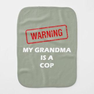 Warning My Grandma is A Cop Baby Burp Cloth