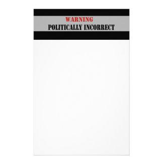 Warning Politically Incorrect Stationery