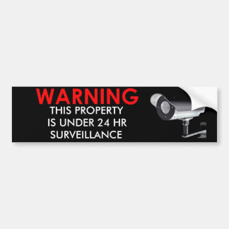 WARNING PROPERTY UNDER SURVEILLANCE STICKER BUMPER STICKER