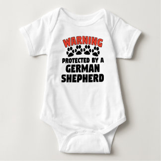 Warning Protected By A German Shepherd Baby Bodysuit