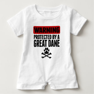 Warning Protected By A Great Dane Baby Romper